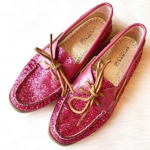 Sperry Topsider Pink Glitter Boat Shoes